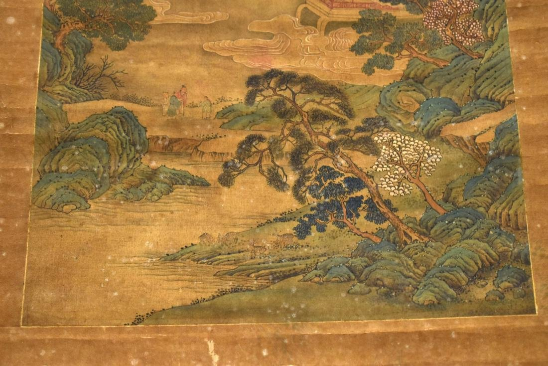 QING DYNASTY SCROLL PAINTING OF A MOUNTAINSIDE PAVILION - 6