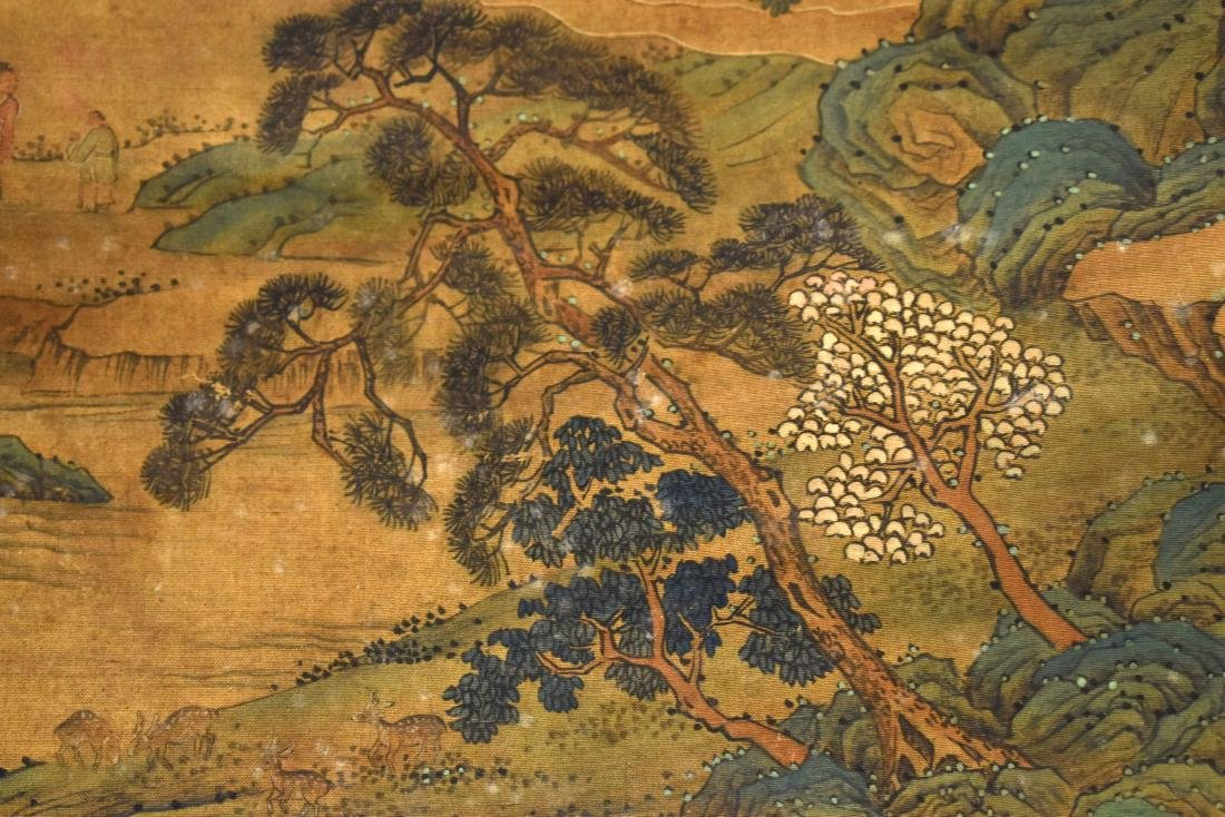 QING DYNASTY SCROLL PAINTING OF A MOUNTAINSIDE PAVILION - 7