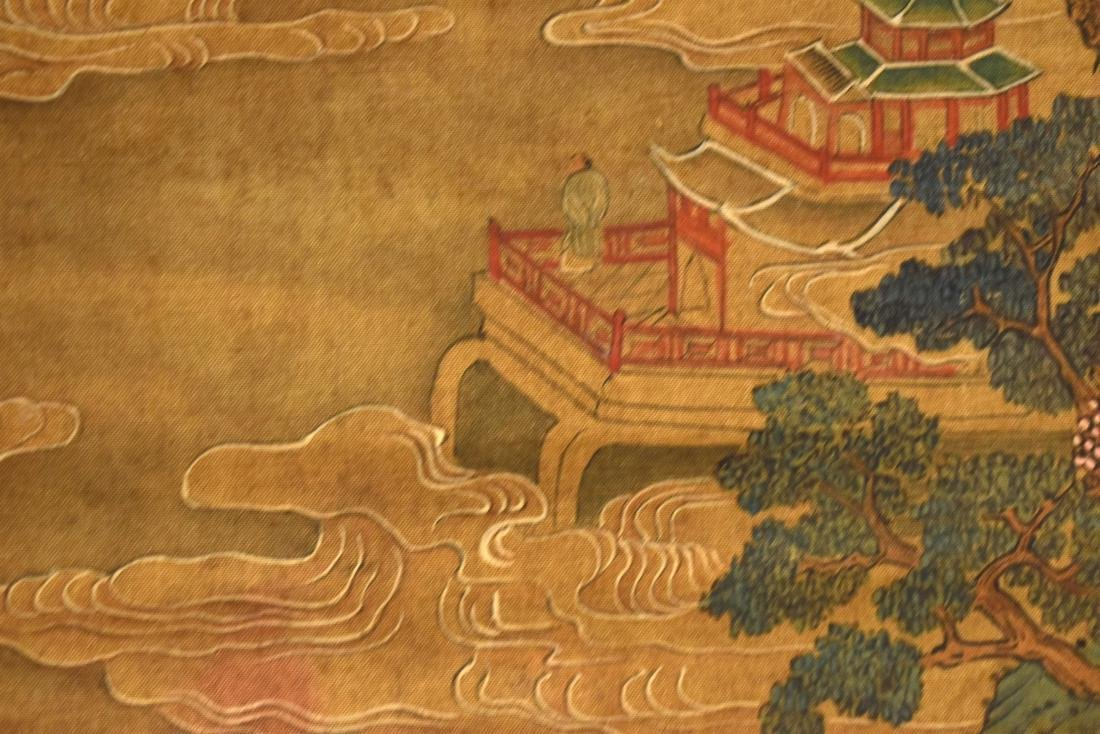 QING DYNASTY SCROLL PAINTING OF A MOUNTAINSIDE PAVILION - 8