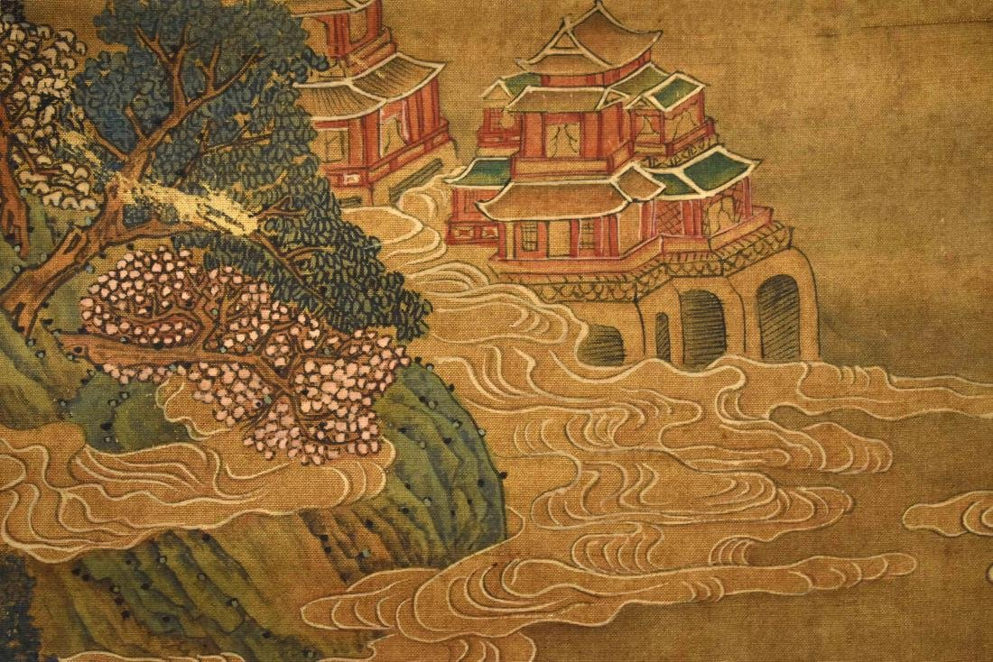 QING DYNASTY SCROLL PAINTING OF A MOUNTAINSIDE PAVILION - 9