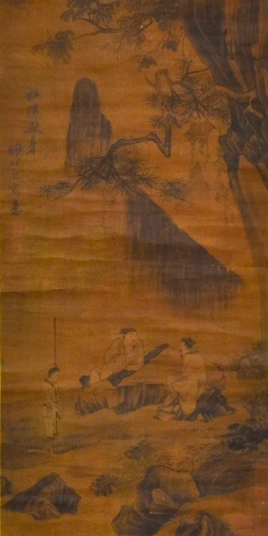 QING DYNASTY MOUNTAINOUS LANDSCAPE SCROLL PAINTING ON