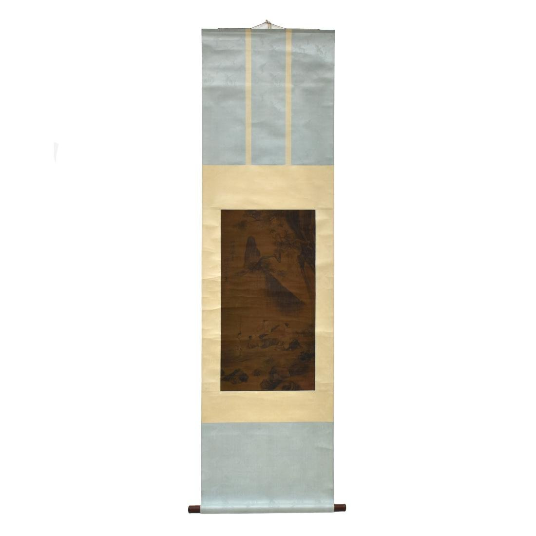 QING DYNASTY MOUNTAINOUS LANDSCAPE SCROLL PAINTING ON - 2