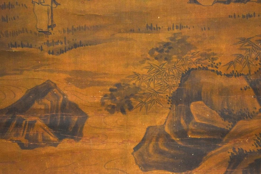 QING DYNASTY MOUNTAINOUS LANDSCAPE SCROLL PAINTING ON - 4