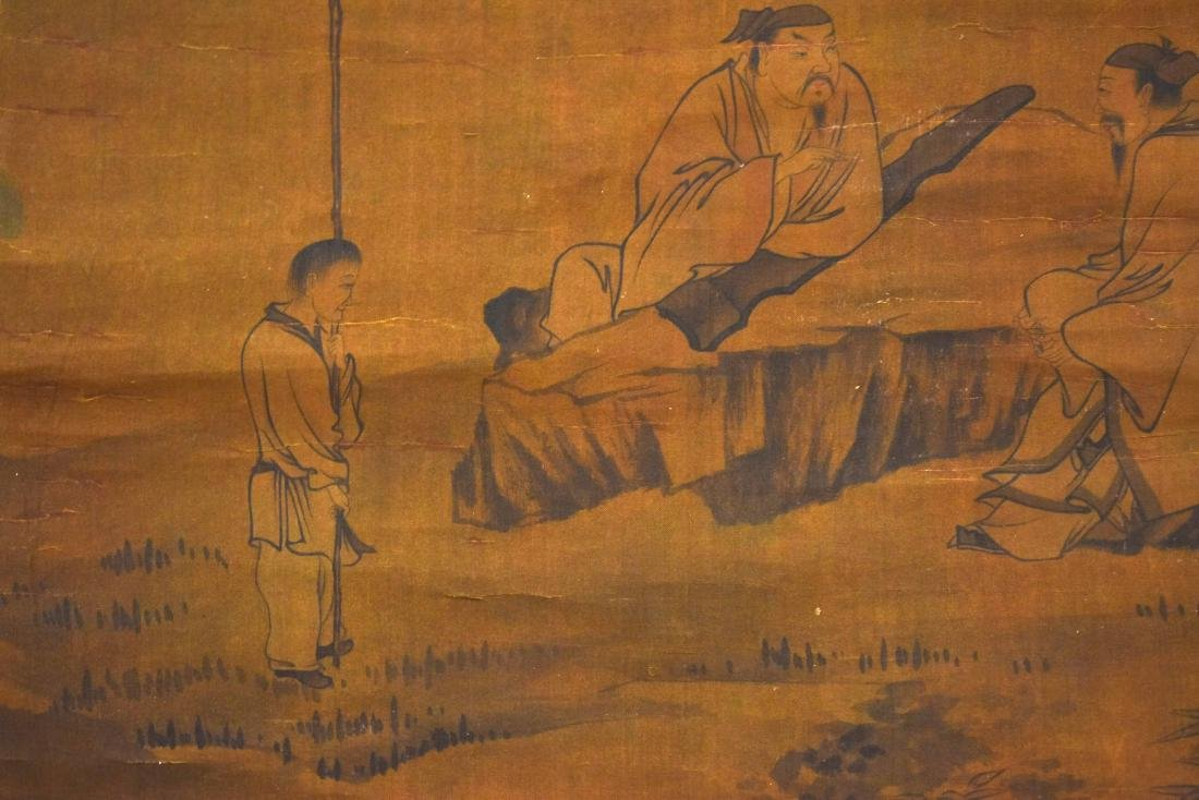QING DYNASTY MOUNTAINOUS LANDSCAPE SCROLL PAINTING ON - 5