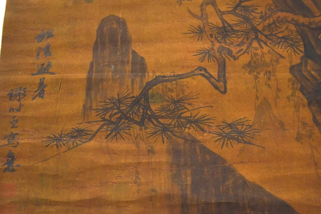 QING DYNASTY MOUNTAINOUS LANDSCAPE SCROLL PAINTING ON - 8
