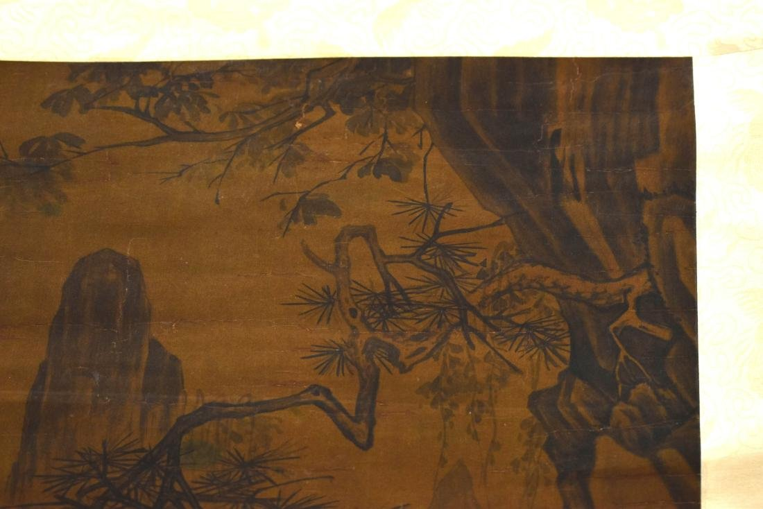 QING DYNASTY MOUNTAINOUS LANDSCAPE SCROLL PAINTING ON - 9