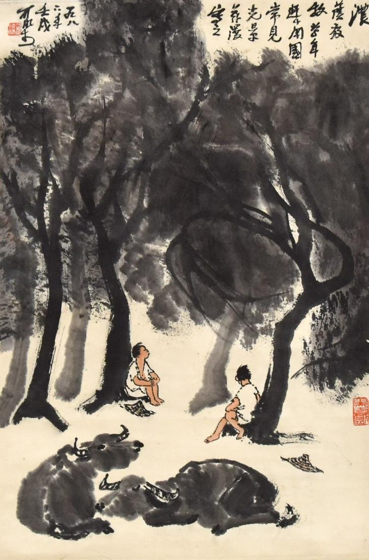 GRISAILLE CHINESE MISTY FORREST SCROLL PAINTING