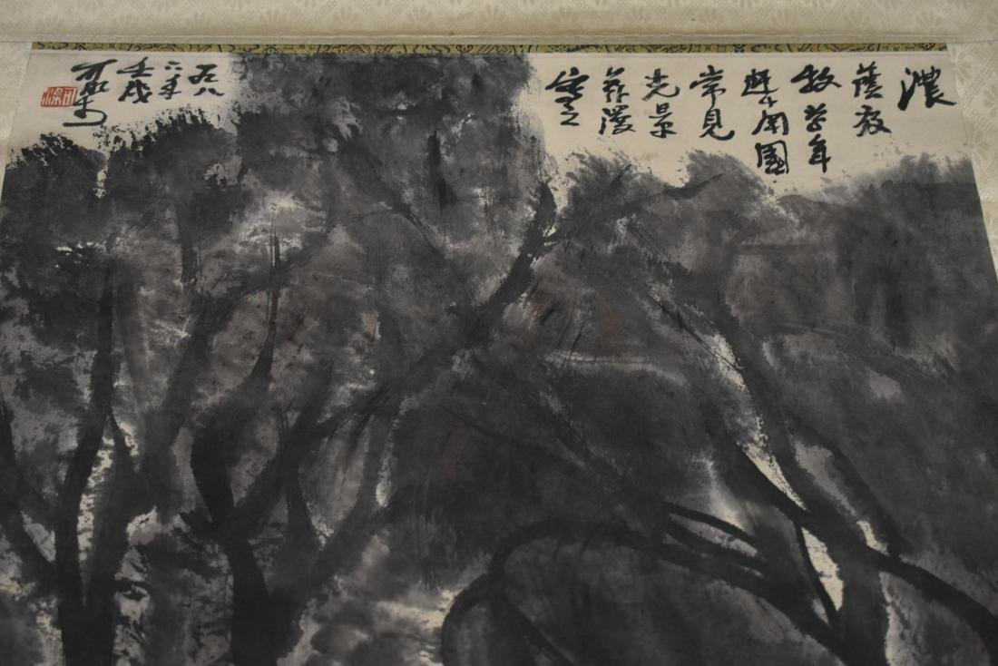GRISAILLE CHINESE MISTY FORREST SCROLL PAINTING - 9