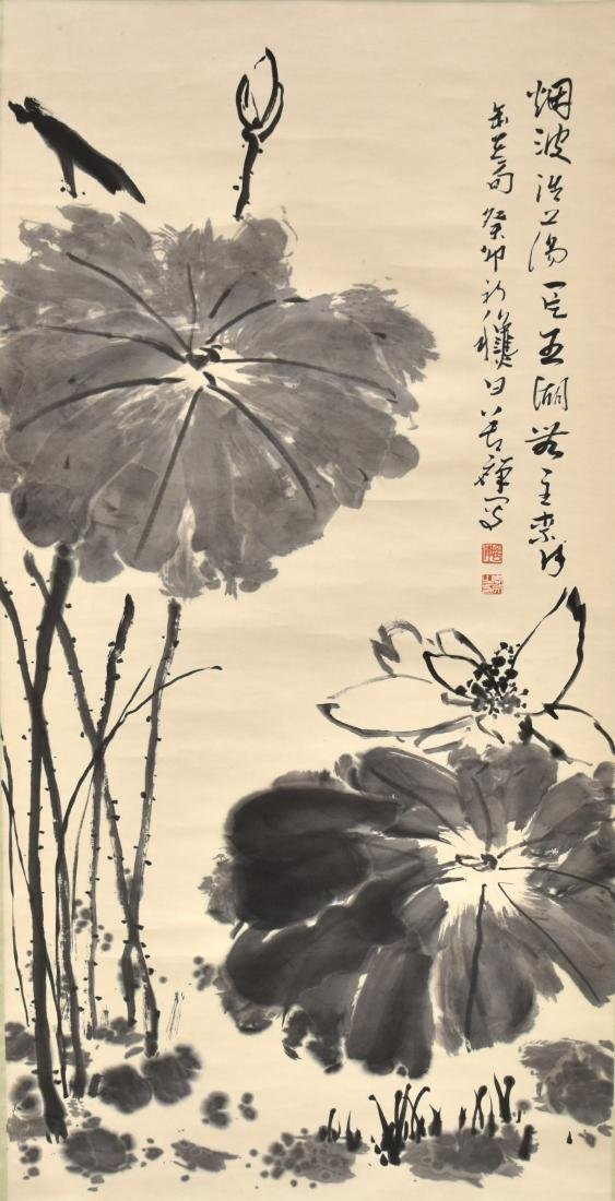 LARGE CHINESE LOTUS BLOOM SCROLL PAINTING