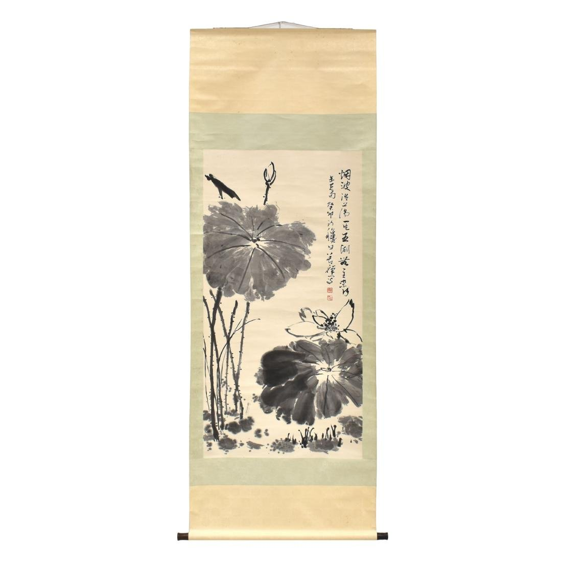 LARGE CHINESE LOTUS BLOOM SCROLL PAINTING - 2
