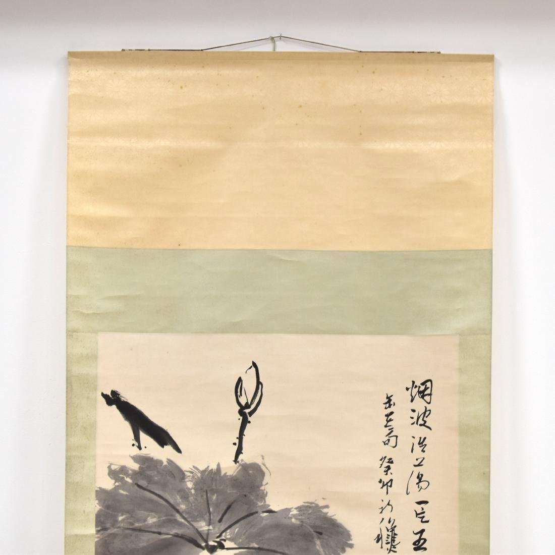 LARGE CHINESE LOTUS BLOOM SCROLL PAINTING - 3
