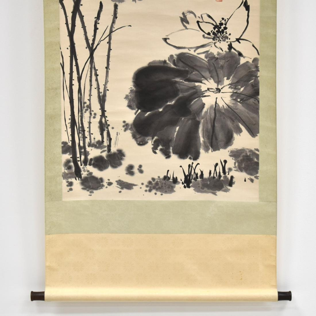 LARGE CHINESE LOTUS BLOOM SCROLL PAINTING - 4