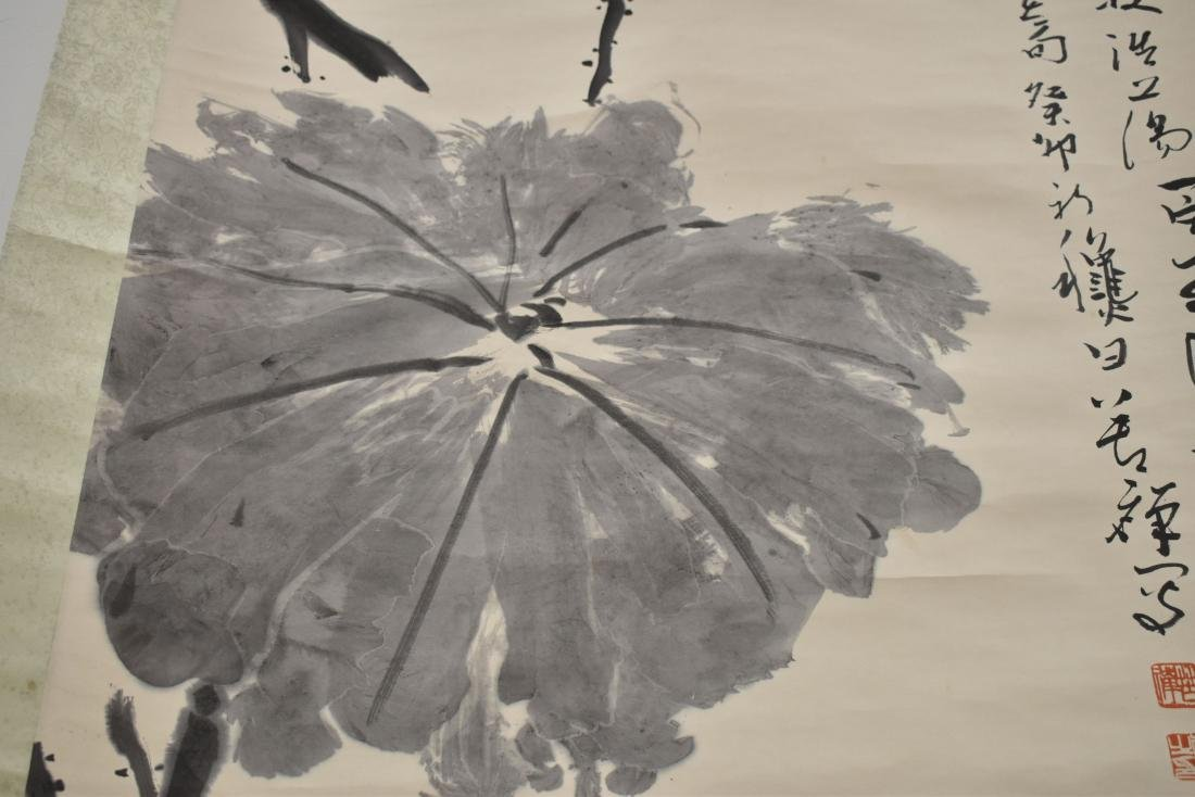 LARGE CHINESE LOTUS BLOOM SCROLL PAINTING - 8