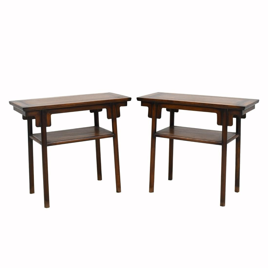 19TH C PAIR OF CHINESE HUANGHUALI TWO LEVEL ALTAR TABLE
