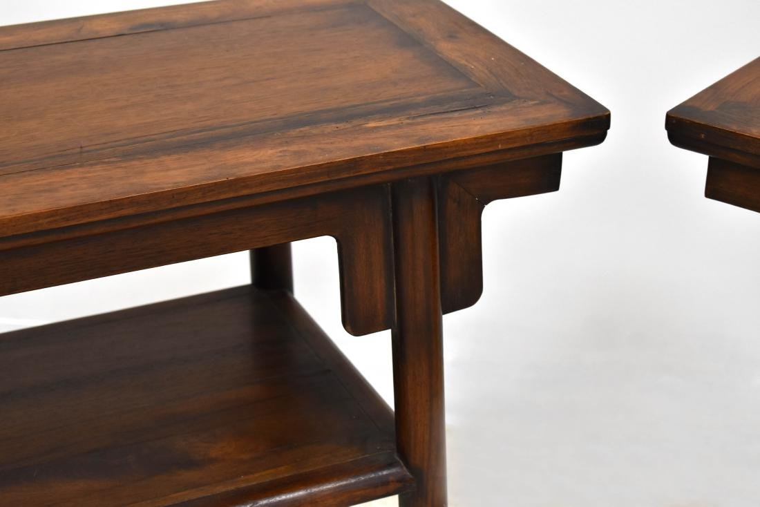 19TH C PAIR OF CHINESE HUANGHUALI TWO LEVEL ALTAR TABLE - 2