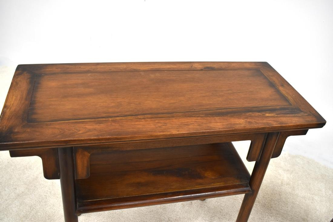 19TH C PAIR OF CHINESE HUANGHUALI TWO LEVEL ALTAR TABLE - 3