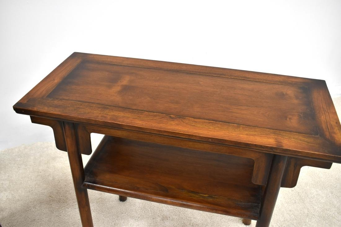 19TH C PAIR OF CHINESE HUANGHUALI TWO LEVEL ALTAR TABLE - 4