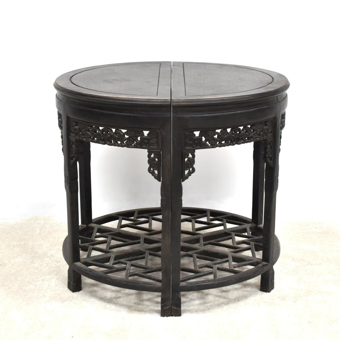 19TH C PAIR OF CHINESE ZITAN MOON TABLE - 16