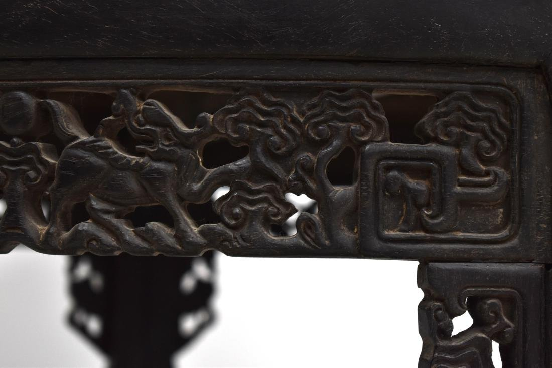 19TH C PAIR OF CHINESE ZITAN MOON TABLE - 7