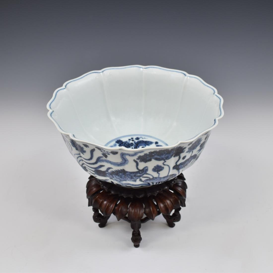 MING BLUE & WHITE CARP MOTIF BOWL ON STAND - 3