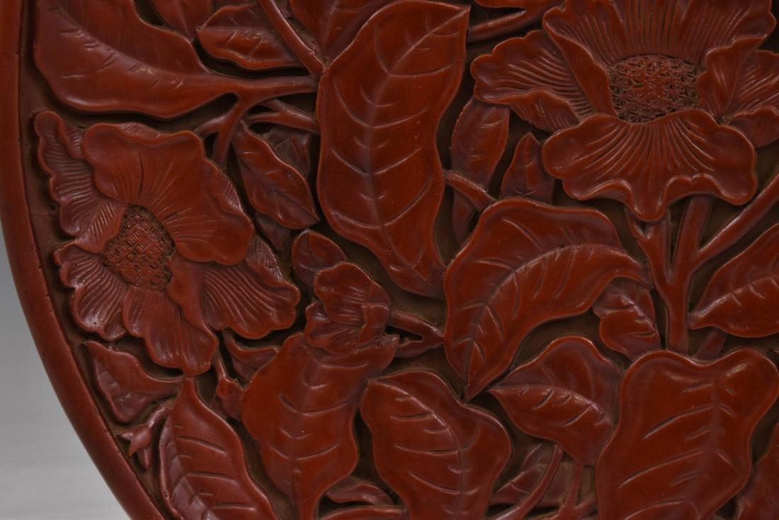 CARVED CINNABAR PEONY BLOOM PLATE - 5