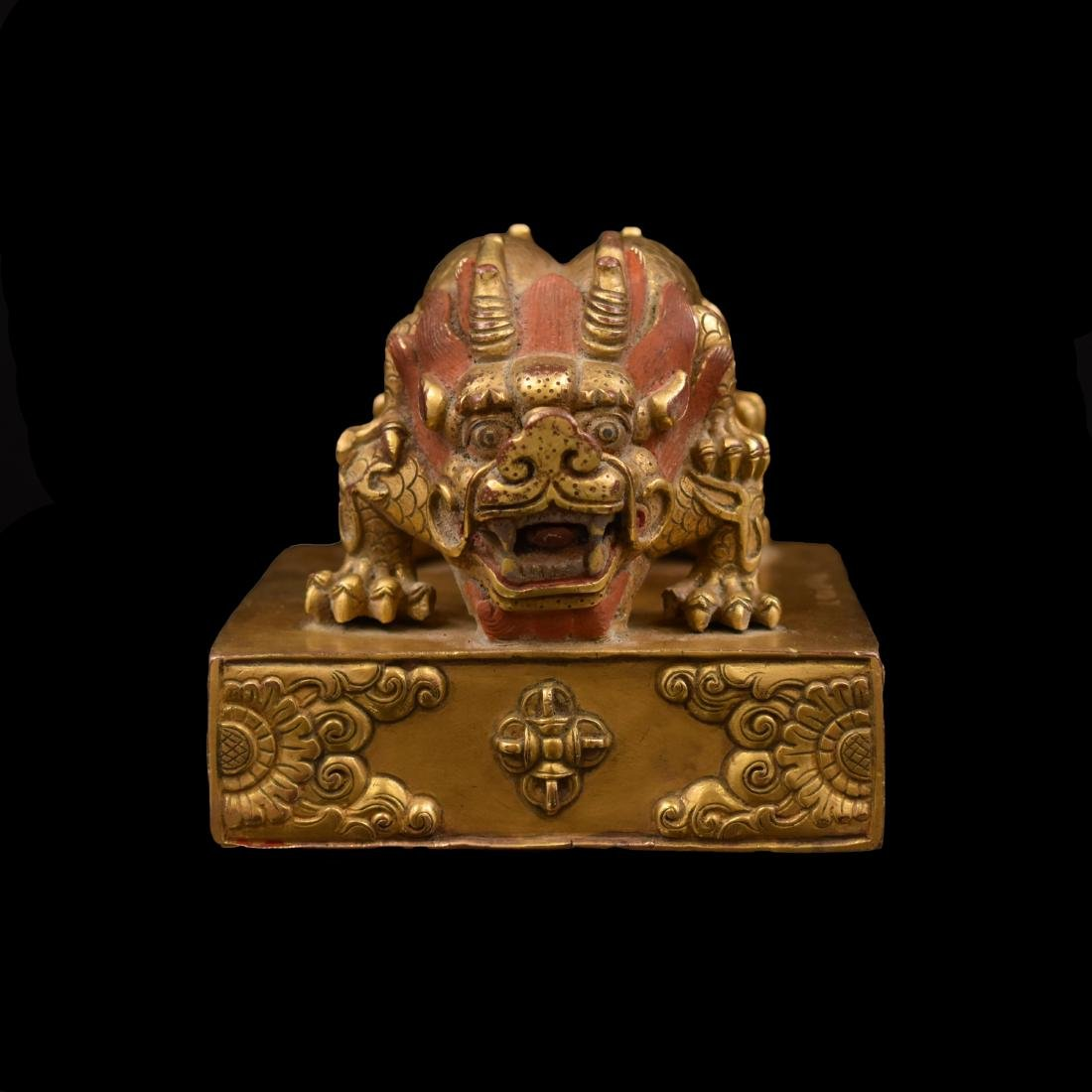 YONGLE GILT BRONZE DOUBLE HEADED DRAGON SEAL - 13