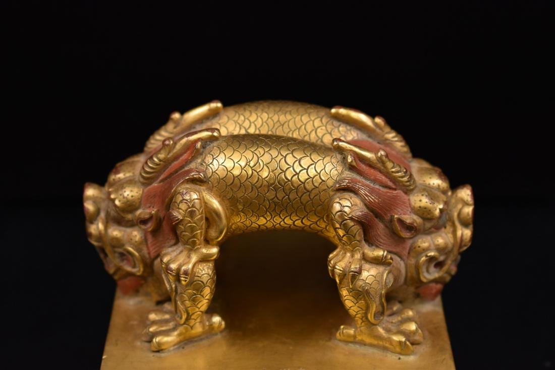 YONGLE GILT BRONZE DOUBLE HEADED DRAGON SEAL - 2