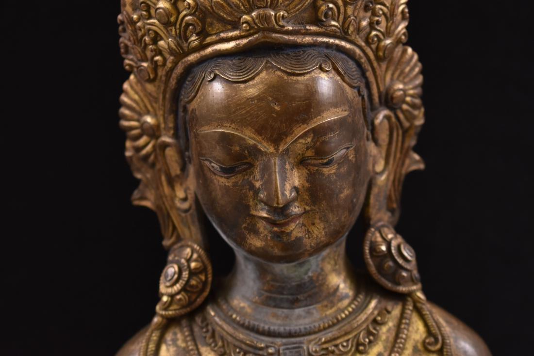 MING GILT BRONZE STANDING BUDDHA SHRISTHIKANTHA - 3
