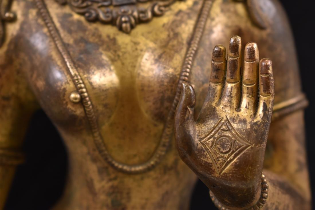 MING GILT BRONZE STANDING BUDDHA SHRISTHIKANTHA - 4