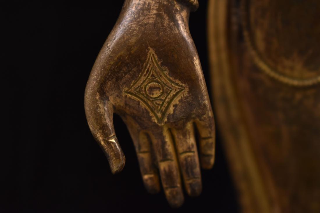MING GILT BRONZE STANDING BUDDHA SHRISTHIKANTHA - 5