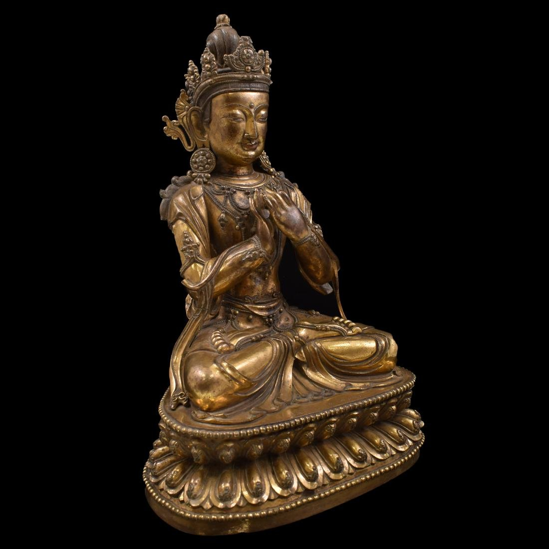MING LARGE GILT BRONZE MAITREYA BUDDHA - 5