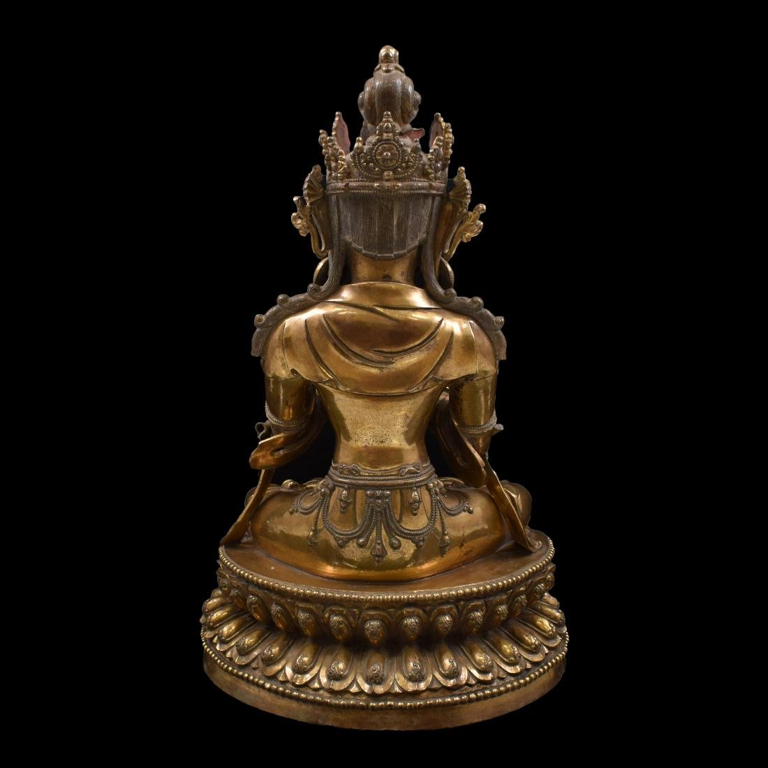 MING LARGE GILT BRONZE MAITREYA BUDDHA - 6