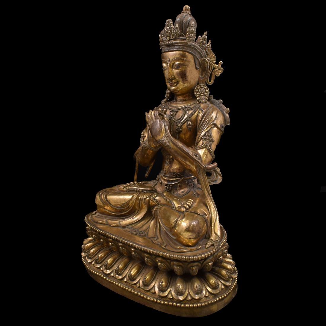 MING LARGE GILT BRONZE MAITREYA BUDDHA - 8