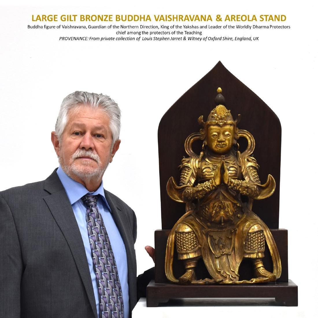 LARGE GILT BRONZE BUDDHA VAISHRAVANA & AREOLA STAND