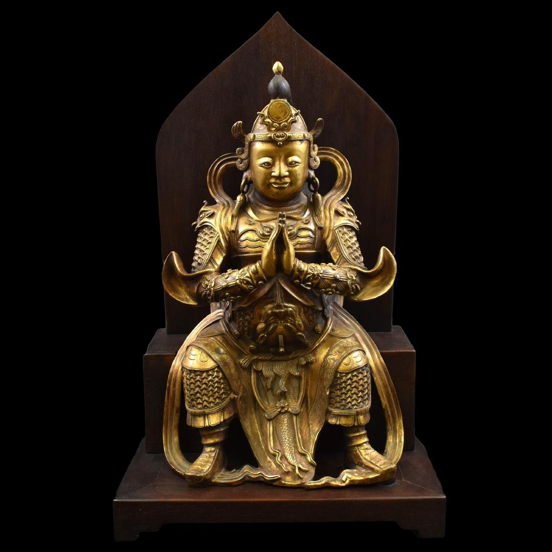 LARGE GILT BRONZE BUDDHA VAISHRAVANA & AREOLA STAND - 2