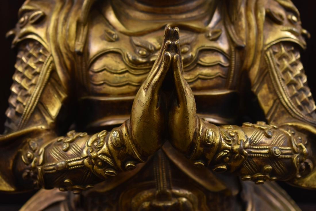LARGE GILT BRONZE BUDDHA VAISHRAVANA & AREOLA STAND - 4