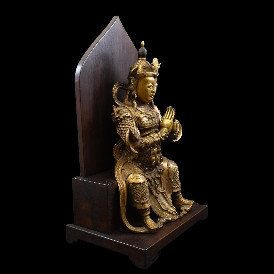 LARGE GILT BRONZE BUDDHA VAISHRAVANA & AREOLA STAND - 8