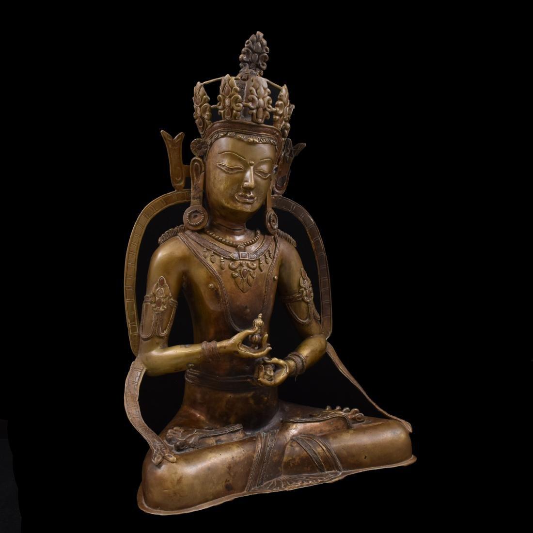 LARGE QING BRONZE BUDDHA FIGURE OF VAJRADHARA - 11
