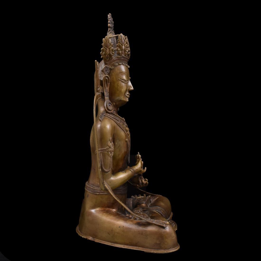 LARGE QING BRONZE BUDDHA FIGURE OF VAJRADHARA - 12