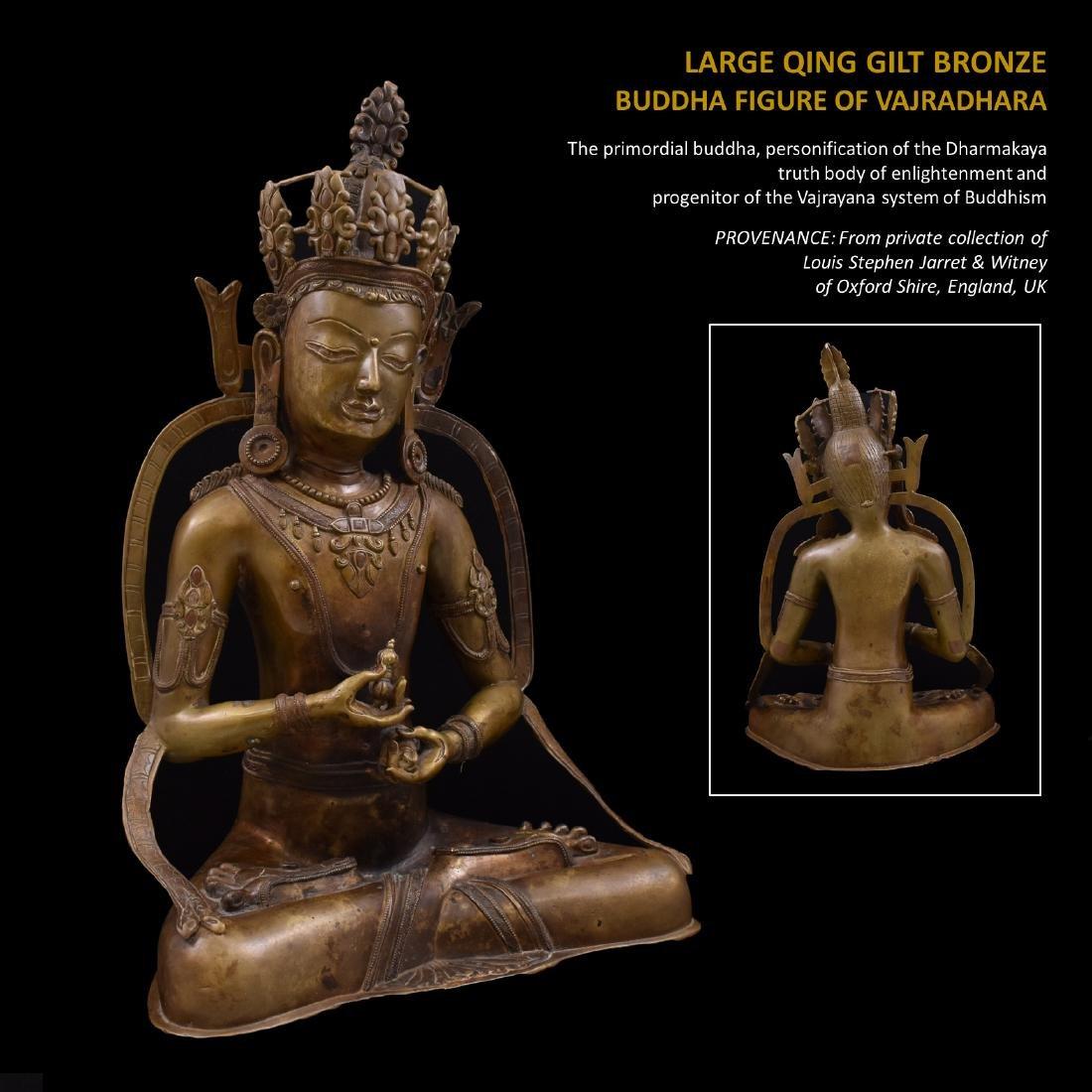 LARGE QING BRONZE BUDDHA FIGURE OF VAJRADHARA
