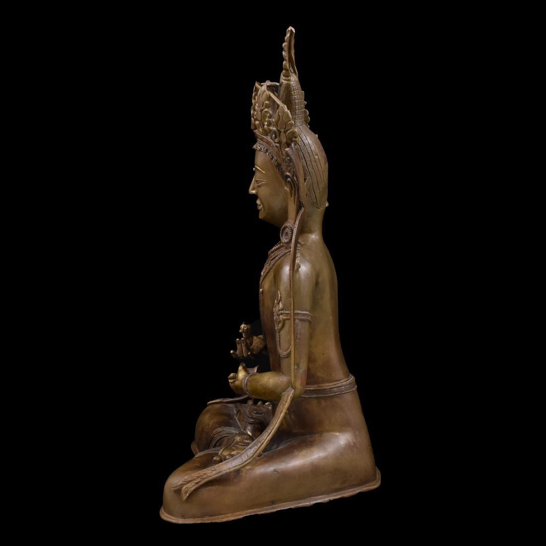 LARGE QING BRONZE BUDDHA FIGURE OF VAJRADHARA - 8