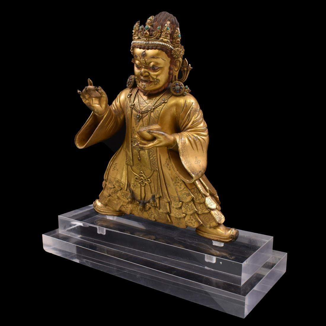 MING GILT BRONZE & STONES INLAID BUDDHA VAISHRAVANA - 11