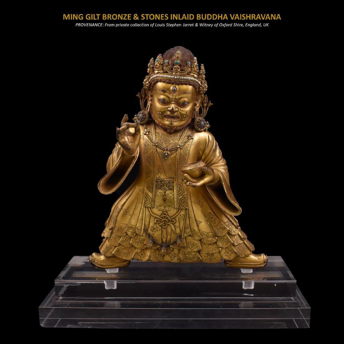 MING GILT BRONZE & STONES INLAID BUDDHA VAISHRAVANA
