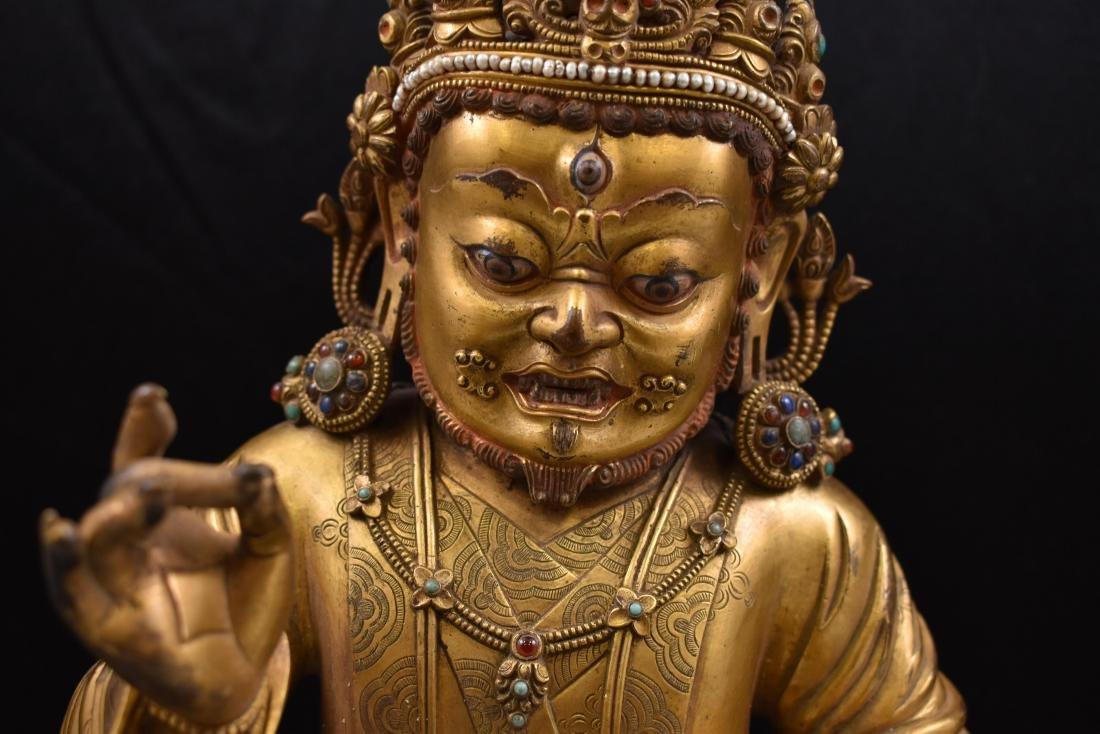 MING GILT BRONZE & STONES INLAID BUDDHA VAISHRAVANA - 2