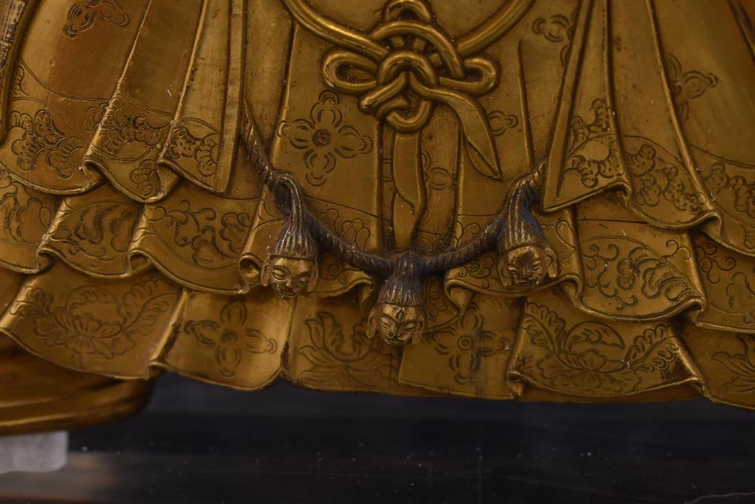 MING GILT BRONZE & STONES INLAID BUDDHA VAISHRAVANA - 4