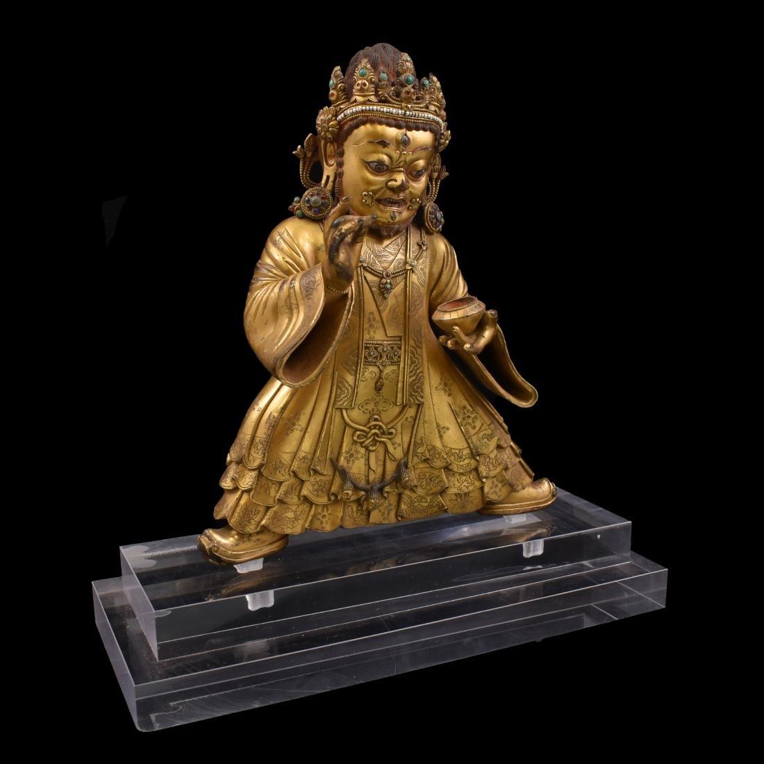 MING GILT BRONZE & STONES INLAID BUDDHA VAISHRAVANA - 5