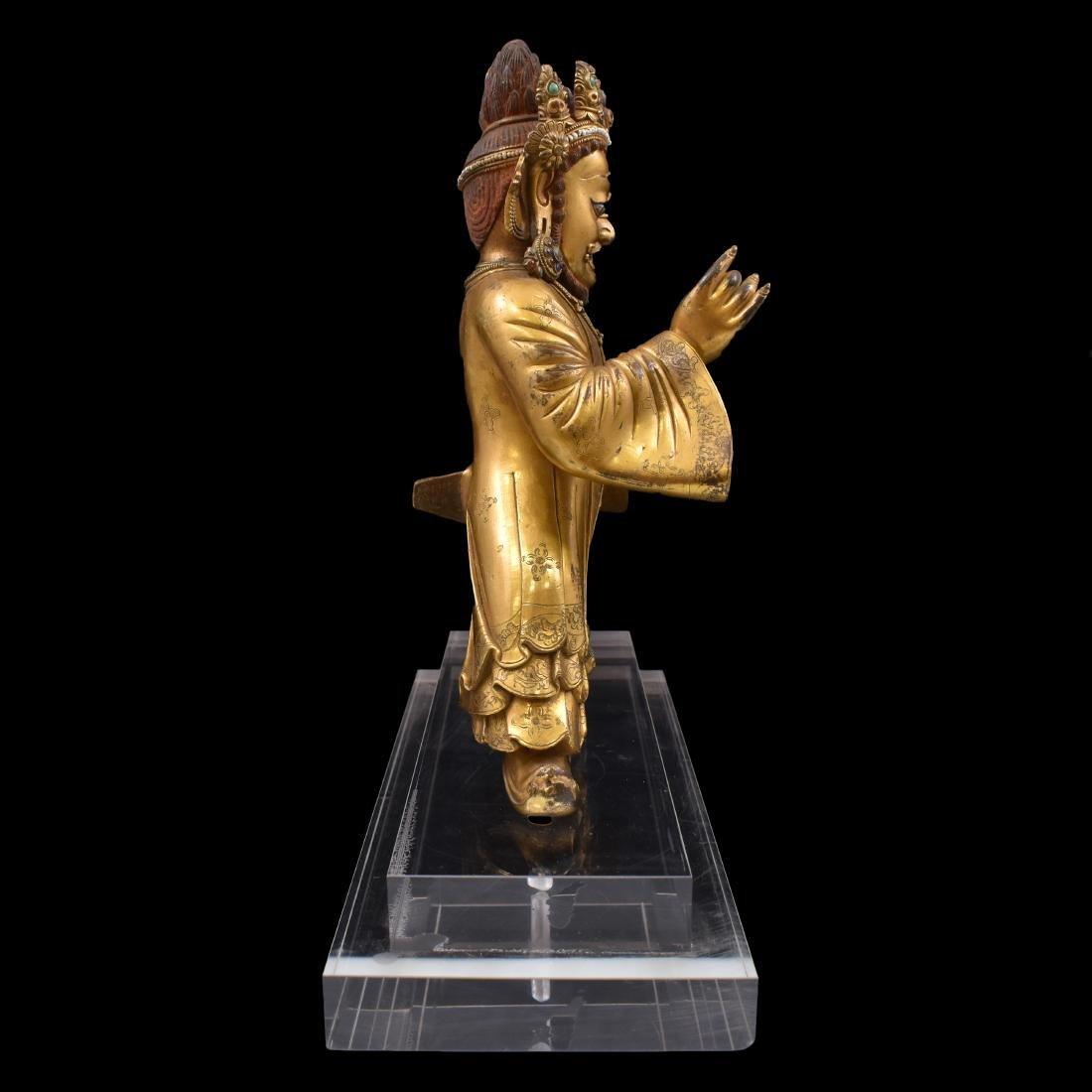MING GILT BRONZE & STONES INLAID BUDDHA VAISHRAVANA - 6