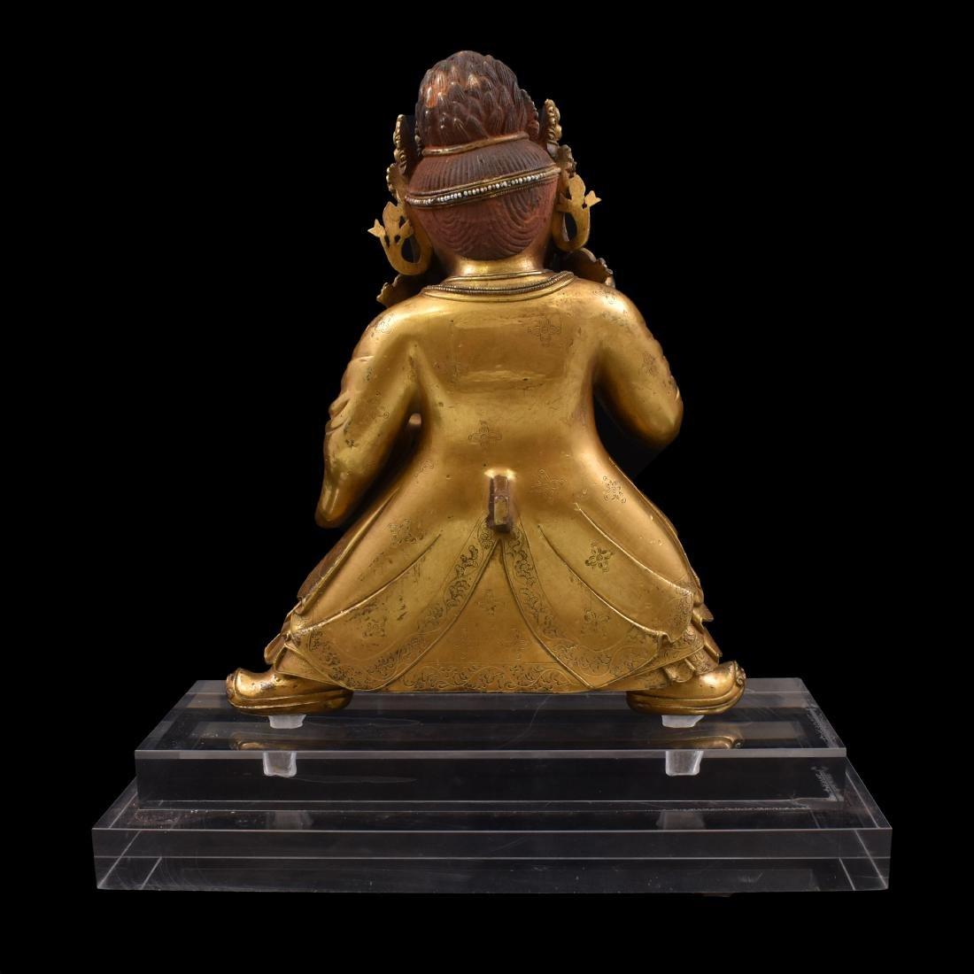 MING GILT BRONZE & STONES INLAID BUDDHA VAISHRAVANA - 7