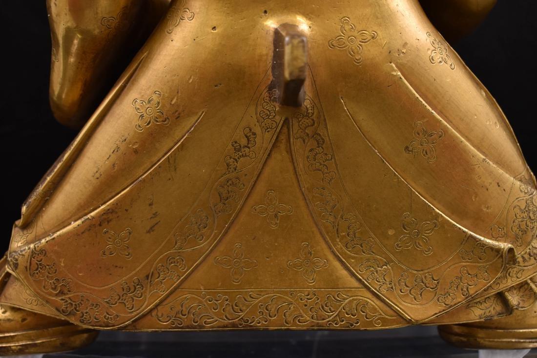 MING GILT BRONZE & STONES INLAID BUDDHA VAISHRAVANA - 8