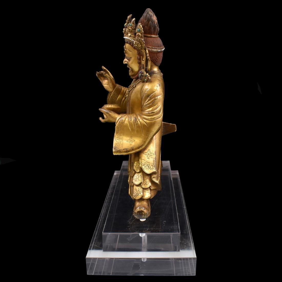MING GILT BRONZE & STONES INLAID BUDDHA VAISHRAVANA - 9